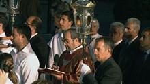 Περιφορά Καθολικού επιταφίου Ι.Ν Ευαγγελιστρίας