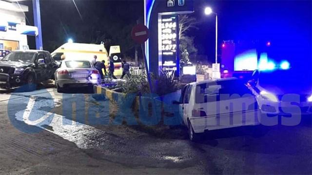 Νάξος: Σοβαρό τροχαίο με τρία οχήματα – Το ένα έπεσε σε βενζινάδικο και ακρωτηρίασε οδηγό
