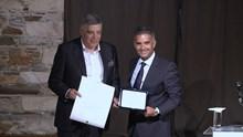 Εγκαίνια έκθεσης Βαρώτσου - Aνακήρυξη Κομνηνού ώς επίτιμου Δημότη